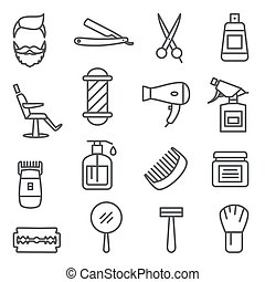 Barber Shop Line Icons on white background.