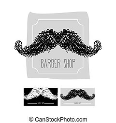Barber Shop logo. Emblem with a mustache. Vector illustration set of business cards for hairdressers.