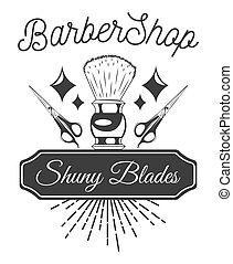 Barber shop logo flat vector design emblem with shaving brush, a pair of scissors and inscriptions