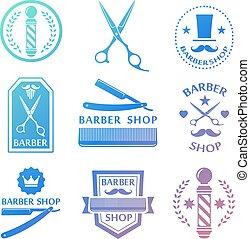 Barber shop logo, labels, badges vintage