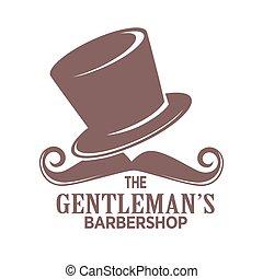Barber shop logo or gentleman hairdresser vector icon -...