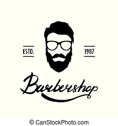 Barber Shop logo or label. Portrait of man with beard and mustache.