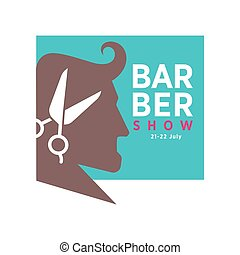 Barber shop logo or vector icon of man head and scissors for...