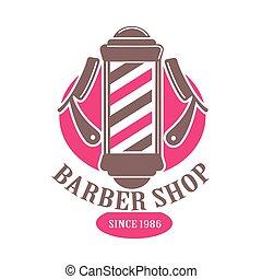Barber shop logo or vector icon template. Premium...