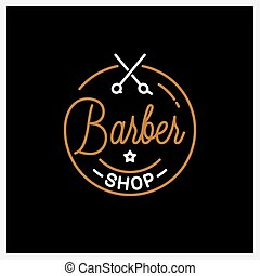 Barber shop logo. Round linear logo of barber