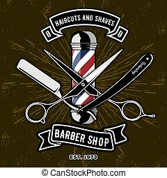 Barber Shop Logo with barber pole in vintage style. Vector template