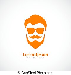 Barber shop logo with beared man