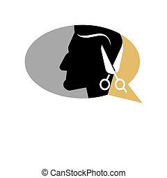 Barber shop man head and scissors vector icon silhouette...