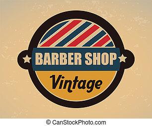 barber shop over vintage background vector illustration