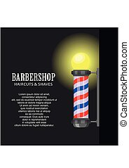 Barber shop pole with stripes on dark background. Barbershop sign, hairdresser symbol in flat style. Banner template Vector illustration