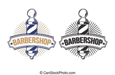 Barber shop poles engraved style vector