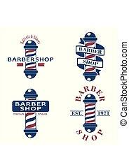Barber shop poles set. Hairdressing saloon icons isolated on white background. Barbershop sign and symbol. Design elements collection for logo, labels, emblems. Vector Illustration