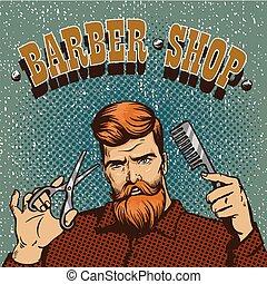 Barber shop poster vector illustration. Hipster stylist with scissors design in vintage pop art style