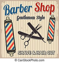 Barber shop retro poster - Barber shop poster design...