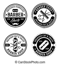 Barber shop set of vector round emblems, badges, labels or logos in vintage style isolated on white background