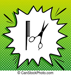 Barber shop sign. Black Icon on white popart Splash at green background with white spots. Illustration.