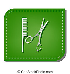 Barber shop sign. Silver gradient line icon with dark green shadow at ecological patched green leaf. Illustration.