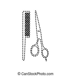 Barber shop sign. Vector. Black dashed icon on white background. Isolated.
