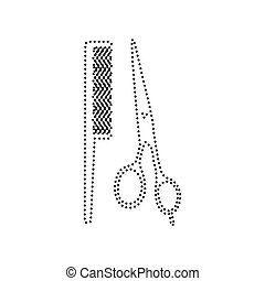 Barber shop sign. Vector. Black dotted icon on white background. Isolated.