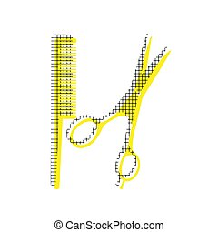 Barber shop sign. Vector. Yellow icon with square pattern duplic