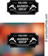 Barber Shop sign with hairdryers - Barber Shop sign in a...