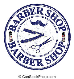Barber shop stamp - Barber shop grunge rubber stamp on...
