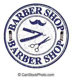Barber shop stamp - Barber shop grunge rubber stamp on...