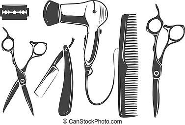 Barber shop vector elements for logo, labels and badges....
