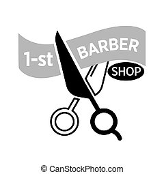 Barber shop vector icon template of scissors cutting ribbon