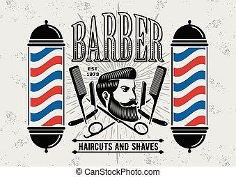 Barber shop vintage label, badge, or emblem.