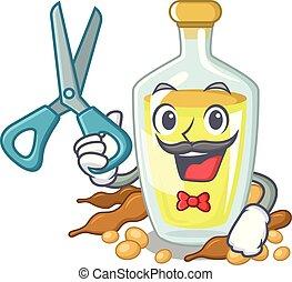 Barber soybean oil put in cartoon bottle