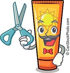 Barber sun cream in the mascot shape vector illustration