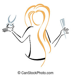 Barber symbol - A woman barber with comb and scissors