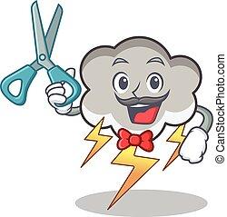 Barber thunder cloud character cartoon vector illustration