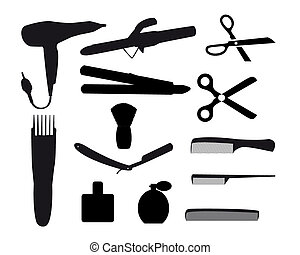 barber tools on a white background
