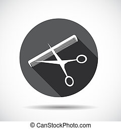 Flat Icon with long Shadow. Vector Illustration.