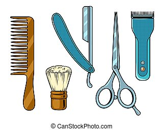 Barber tools pop art vector illustration