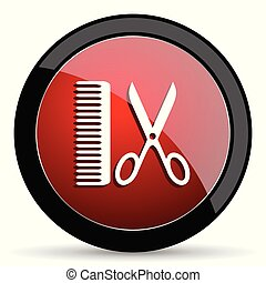 Barber vector icon. Modern design red and black glossy web and mobile applications button in eps 10