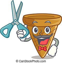 Barber wafer cone character cartoon