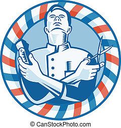 Illustration of a barber looking up holding hair clipper cutter and scissors set inside circle with red and blue stripes done in retro woodcut style.