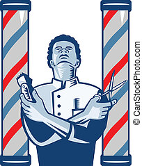 Illustration of an african american barber with arms crossed holding a hair clipper and a pair of scissors with upright barber's pole on isolated white background.