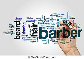 Barber word cloud concept on grey background