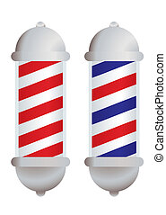 Barbers pole - red and white stripe barbers pole with silver...