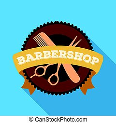 Barber's sign. Barbershop single icon in flat style vector symbol stock illustration web.