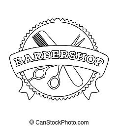 Barber's sign. Barbershop single icon in outline style vector symbol stock illustration web.
