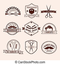 barbershop, 徽章, 集合, 在, 葡萄酒, 風格