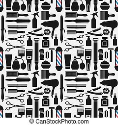 barbershop accessories seamless pattern. vector illustration...