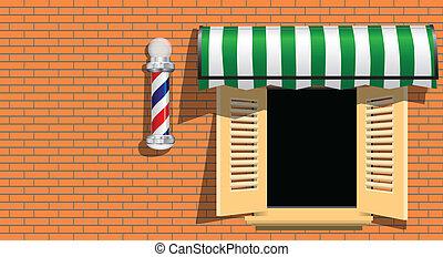 Barbershop - Ancient symbol of a barber shop on a brick...