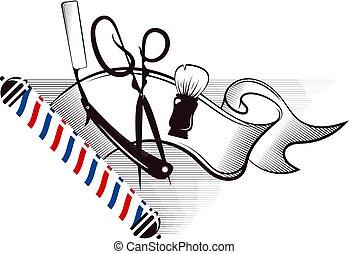 Barbershop and hair salon silhouette