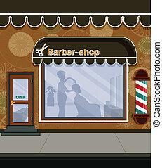 Barbershop -  Barber shop in the city street.